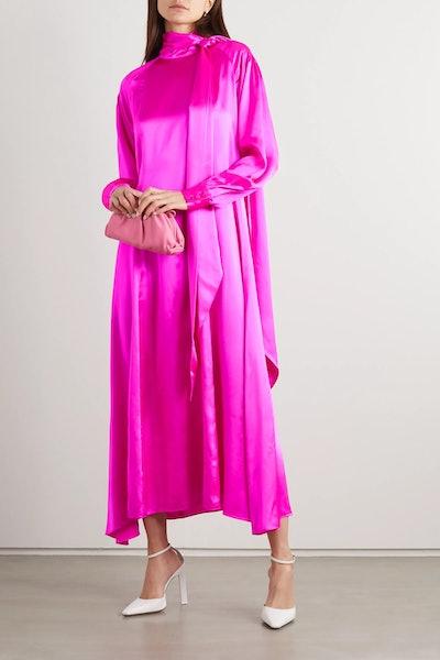 Tie-Detailed Pintucked Neon Silk-Charmeuse Dress