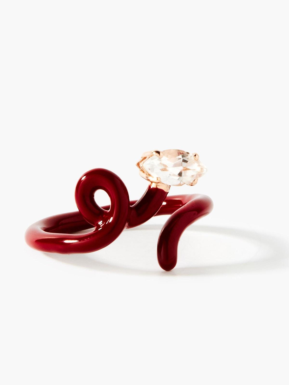 Baby Vine Tendril 9kt gold & enamel ring