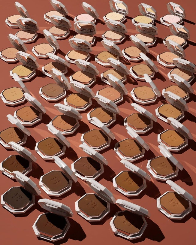 A shot of all 50 Fenty Beauty powder foundations