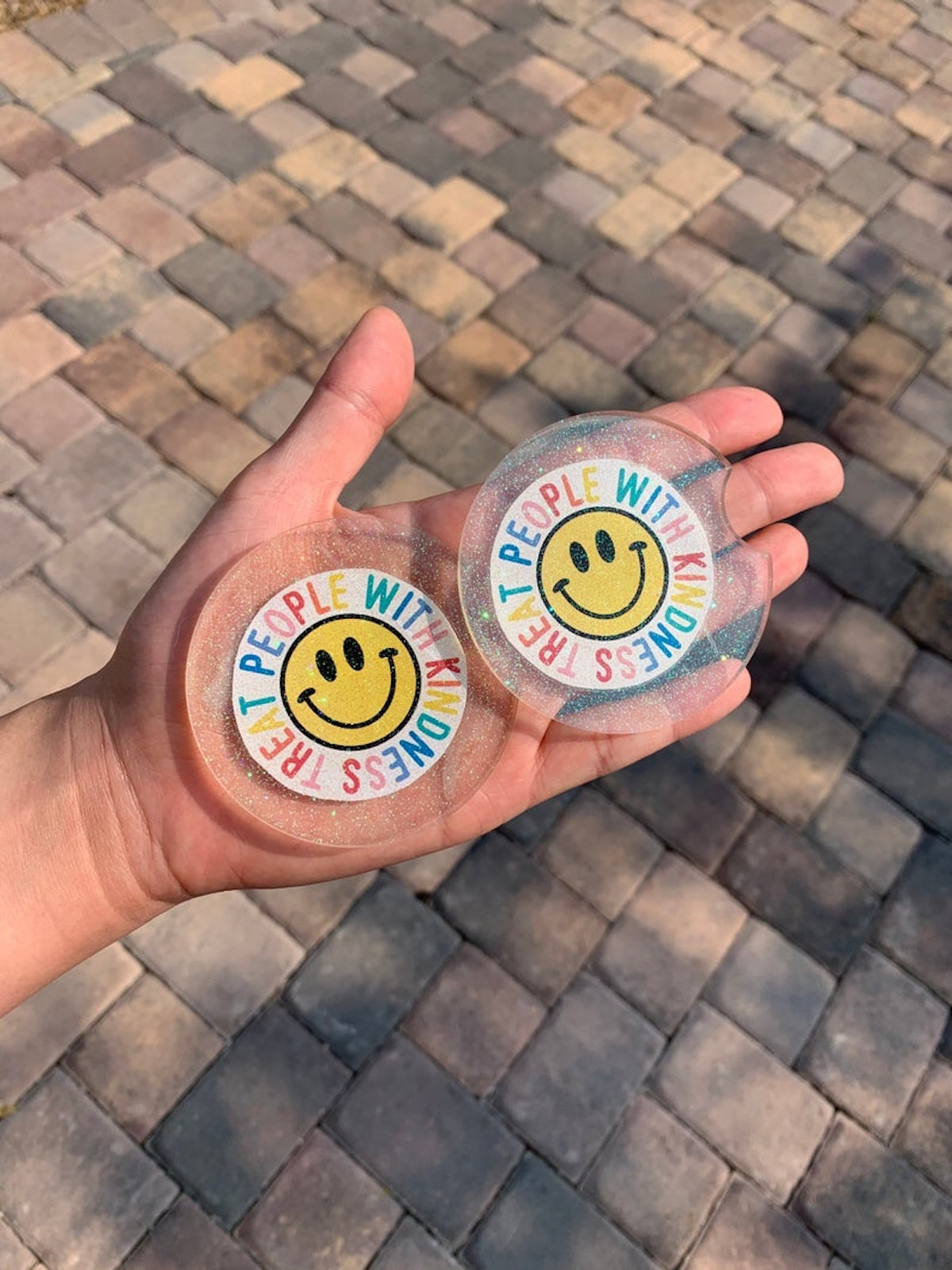 """Harry Styles """"Treat People With Kindness"""" Inspired Glitter Resin Car Coasters"""