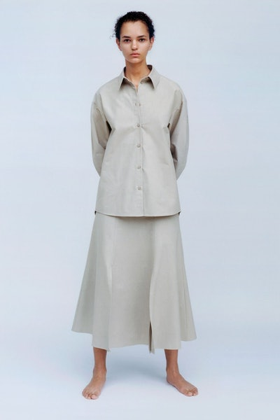 Organic Cotton Relaxed Blouse Pleated Shoulder Detail