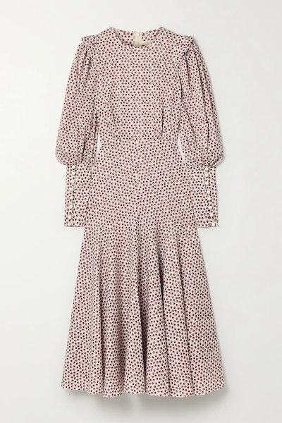 Eliza ruffled floral-print cotton-poplin midi dress