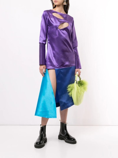 Orange Culture Color-Block Asymmetric Hem Dress