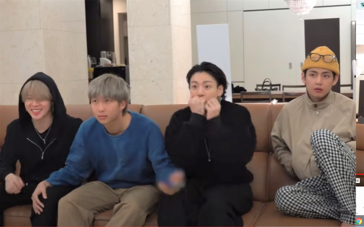 A screenshot from the video of BTS calling their parents after their Grammy nomination.