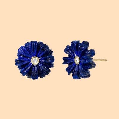 Brent Neale Wildflower Diamond Lapis Earrings