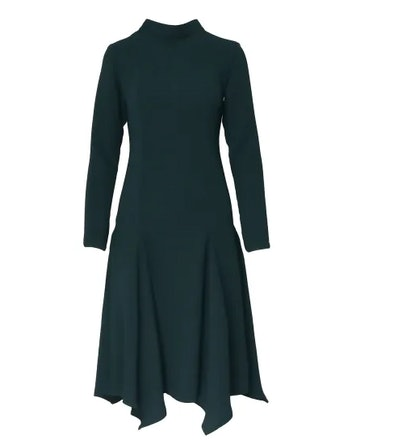 Flared Green Midi Dress With High Neck