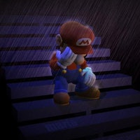 Mario crying in the rain