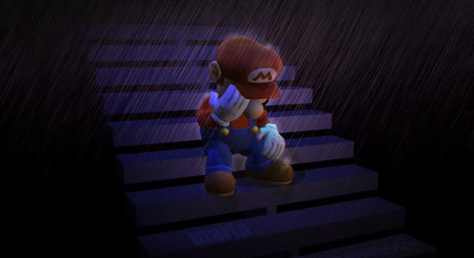 Mario crying in the rain