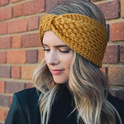 DRESHOW Chunky Crochet Ear Warmer Headbands (4-Pack)