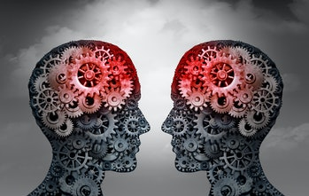 Illustration of two human silhouettes face to face with gears in their heads and clouds in the background