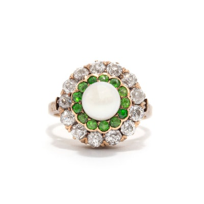 DEMANTOID GARNET AND DIAMOND PEARL HALO RING