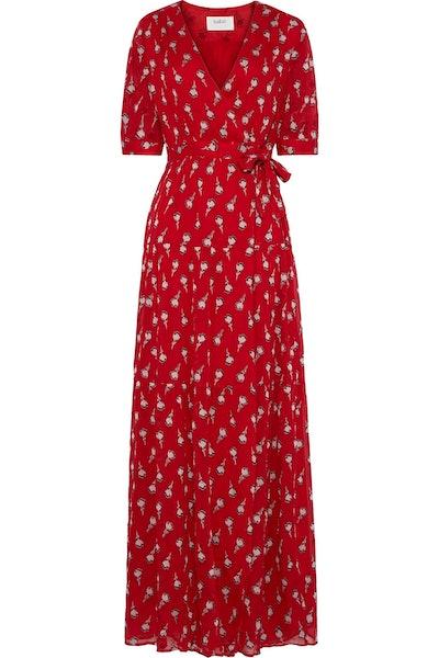 Madona fil coupé silk-blend gauze maxi wrap dress