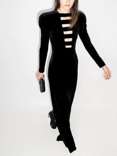 Cut-Out Velvet Maxi Dress