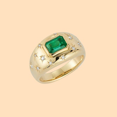 Anniversary Emerald and Diamond Gypsy Ring (Price Upon Request)