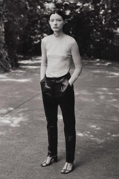 Vegea Leather Look Straight Trousers