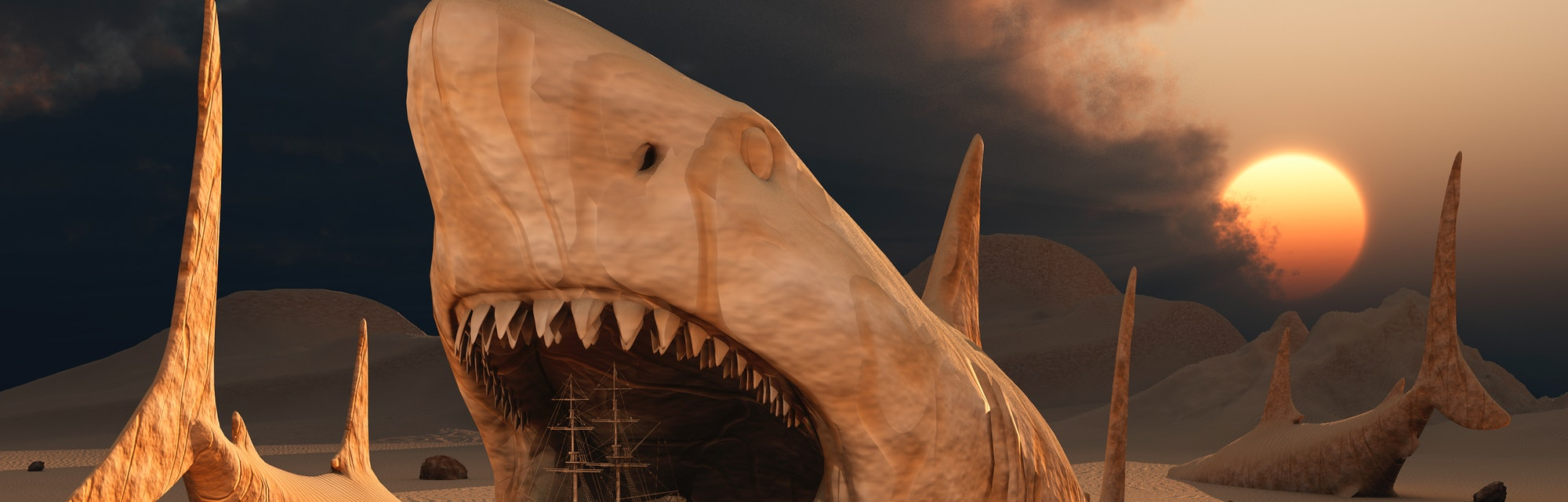 Megalodon desert is a 3D surreal concept image featuring the largest sharks that lived on Earth during the Cenozoic period of time.