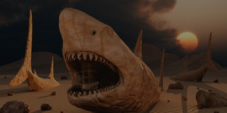 Megalodon desert is a 3D surreal concept image featuring the largest sharks that lived on Earth duri...