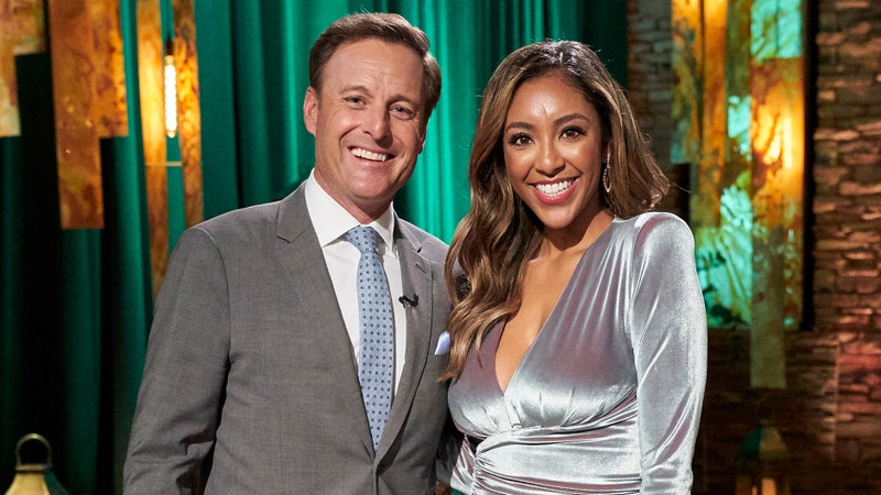 Chris Harrison and The Bachelorette Tayshia Adams at the Men Tell All.