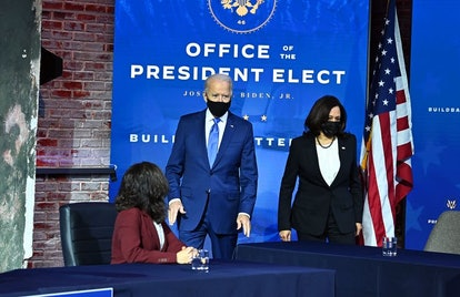 Biden, left, and Harris, right, appear jointly at many events.