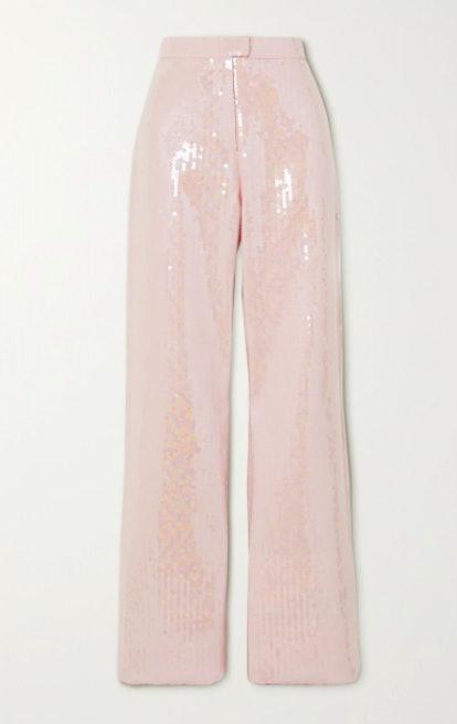Sequined Satin-Crepe Wide-Leg Pants