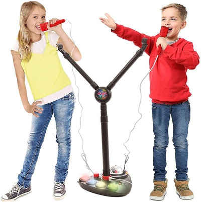 IQ Toys Kids Double Karaoke Mic with Music Singalong and Disco Lights