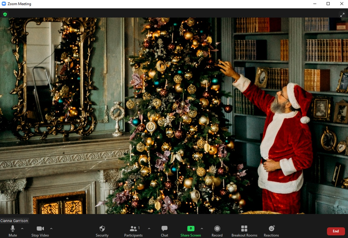 These Christmas tree Zoom backgrounds include so many fun decorations and twinkle lights.