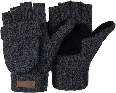 Winter Knitted Convertible Fingerless Gloves Wool