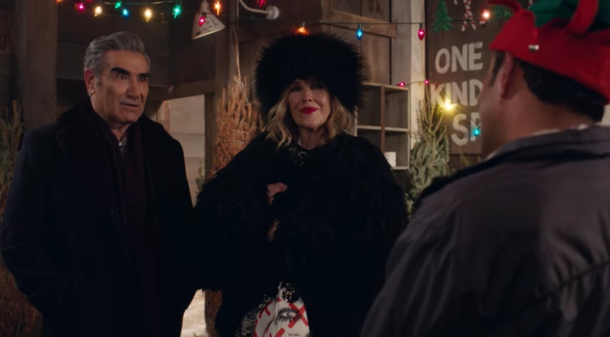 Johnny and Moira Rose from 'Schitt's Creek' try to buy a Christmas tree from Ray.
