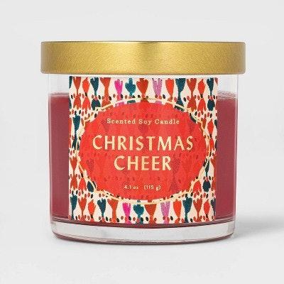 Lidded Glass Jar Candle Christmas Cheer