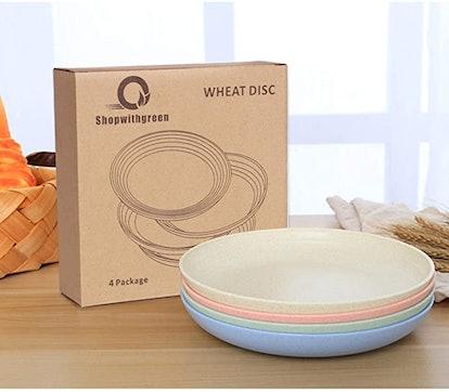Shopwithgreen Lightweight Wheat Straw Plates (4-Pack)