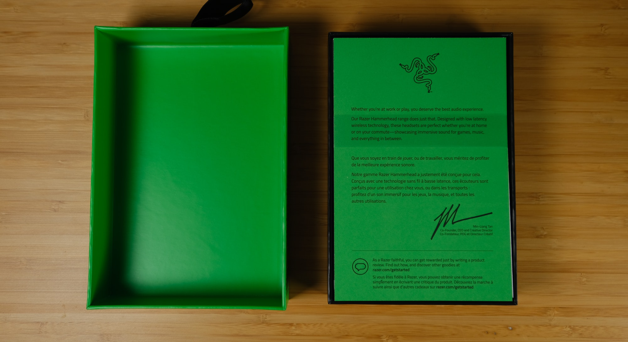 Box containing the Razer Hammerhead Pro earbuds