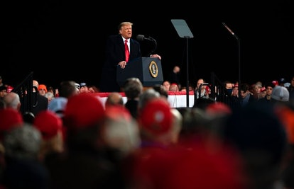 President Donald Trump speaks during a rally to support Republican Senate candidates in Valdosta, Ga...