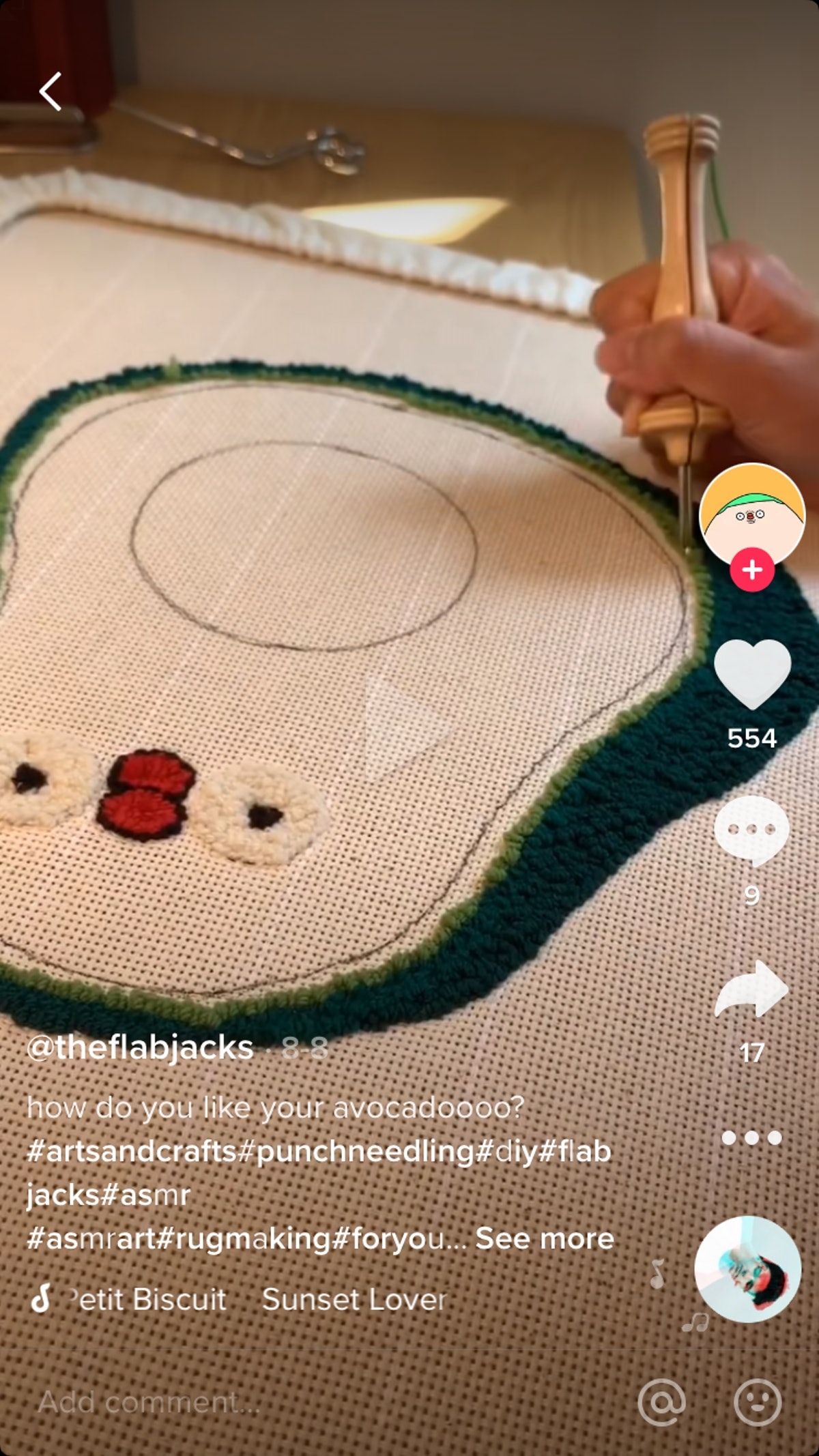 @theflabjacks shows off his cute new avocado rug on TikTok and his process making it with a punch needle
