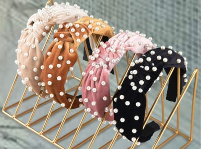 Allucho Velvet Knot Headbands With Faux Pearls (4-Pack)