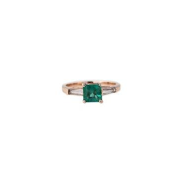 EMERALD + DIAMOND BAGUETTE RING