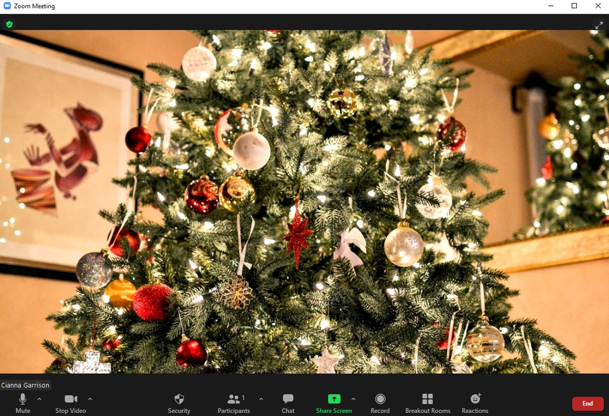 These Christmas tree Zoom backgrounds include so many decorations.