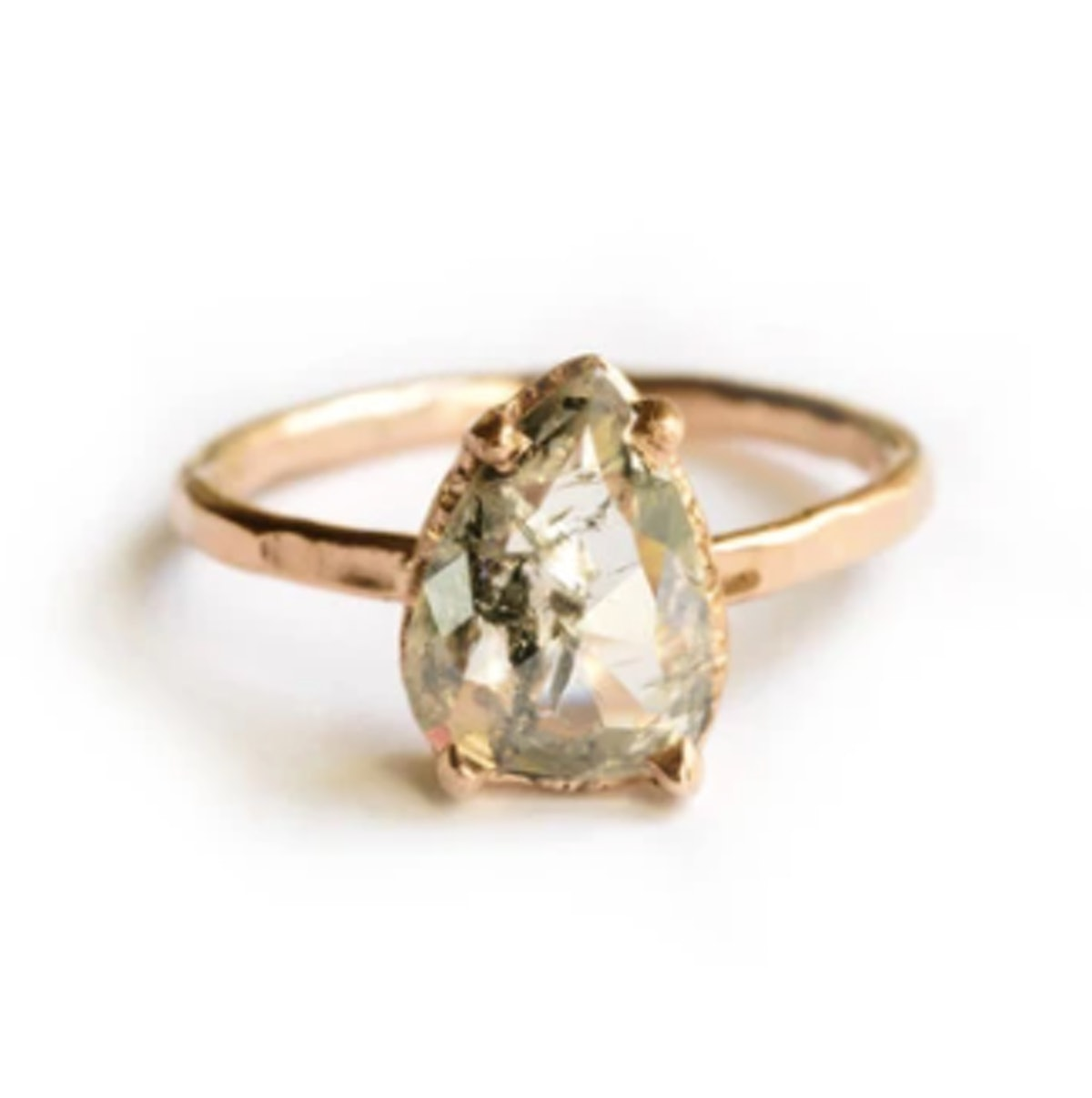Salt and Pepper Pear   Diamond and Rose Gold Engagement Ring