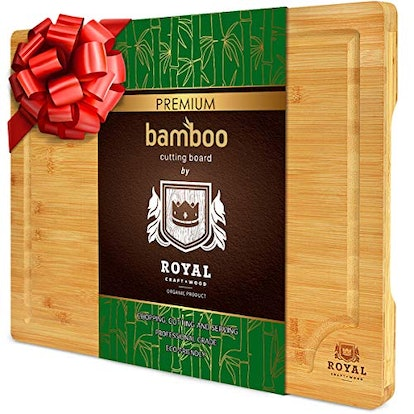 Organic Bamboo Cutting Board with Juice Groove