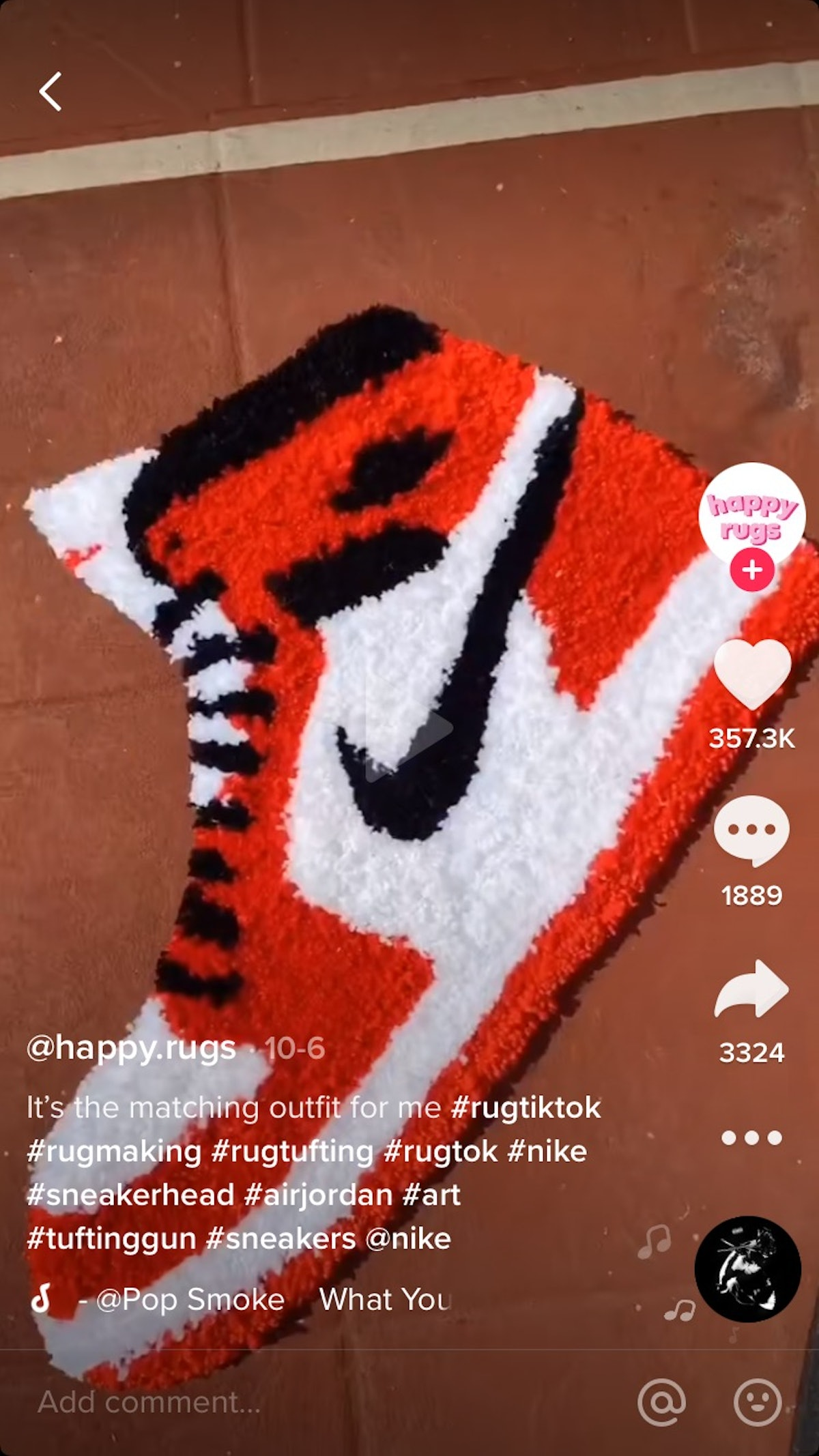 @happy.rugs makes a sneaker shaped rug on TikTok that's perfect for sneaker heads and hypebeasts alike