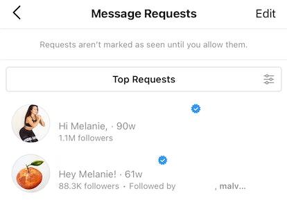 Screenshot of Message Requests on Instagram