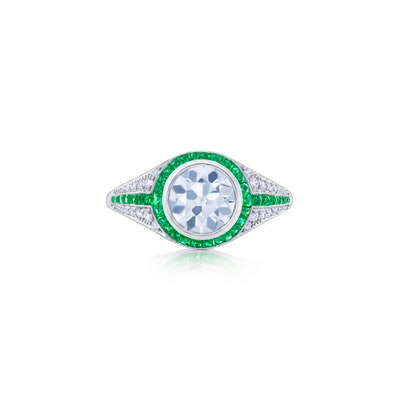 Round Diamond Engagement Ring with a Pave Diamond and Emerald Calibre