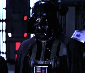 Luke and Darth Vader face Emperor Palpatine in Return of the Jedi.