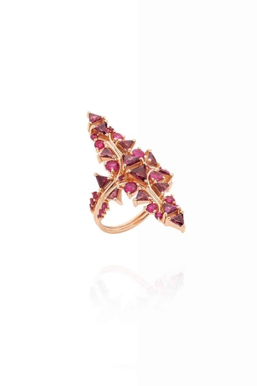 FUSION ARROW RING 18k rose gold, ruby, rhodolite