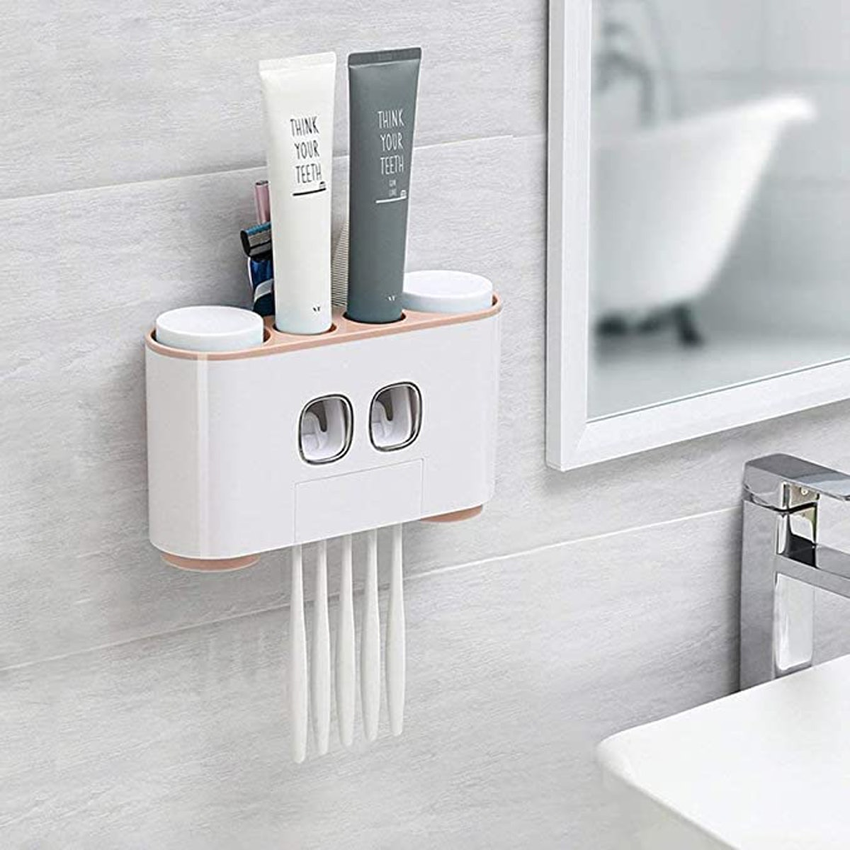 WREWING Multi-Function Toothpaste Dispenser and Dust-Proof Toothbrush Holder