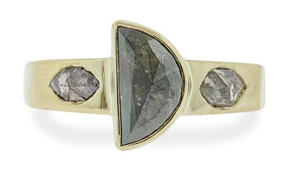 1.79 Carat Half-Moon Dark Salt & Pepper Diamond Ring in Yellow Gold