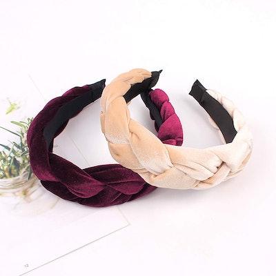 Ivyu Wide Velvet Braided Headbands (4-Pack)