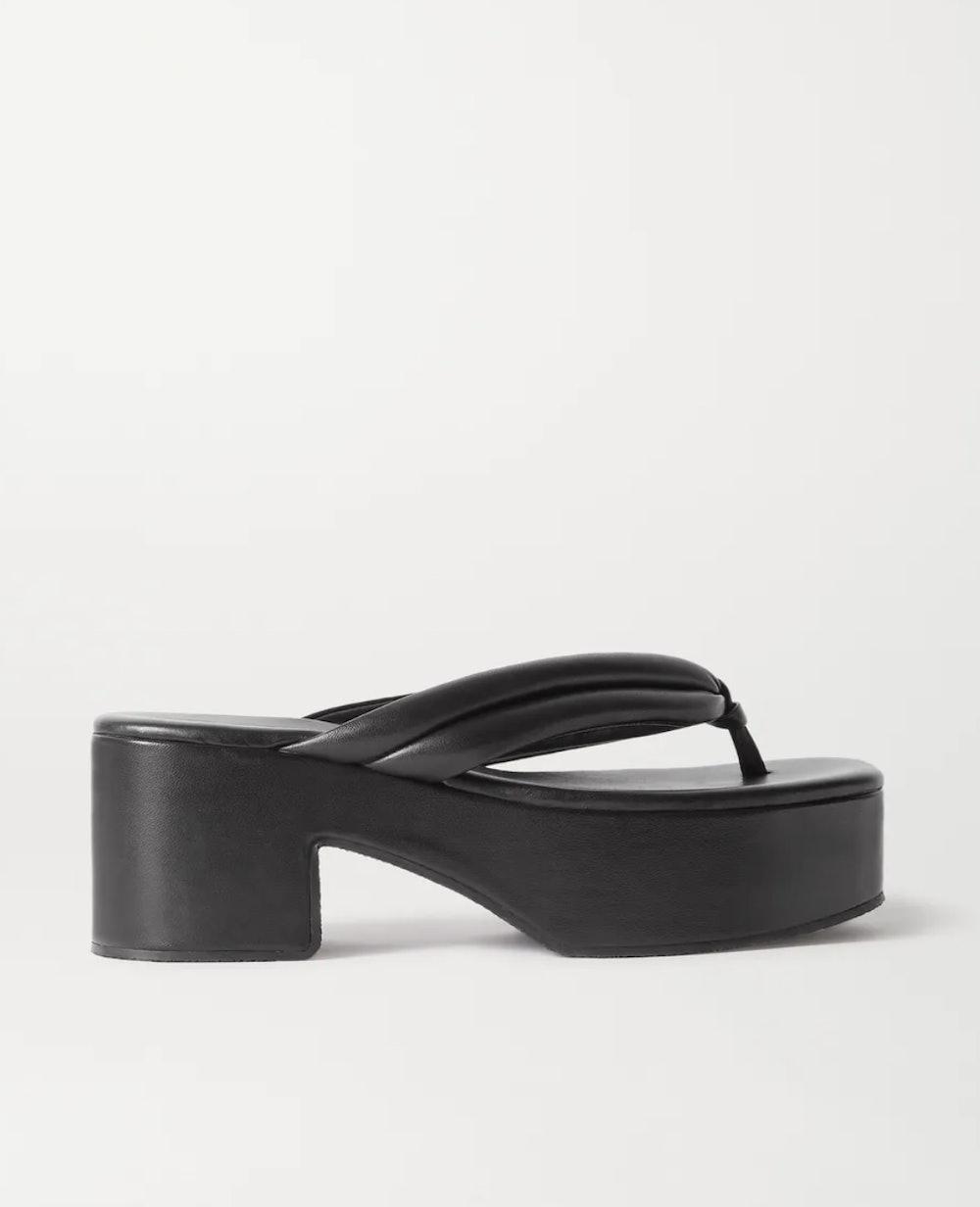Leather Platform Flip Flops