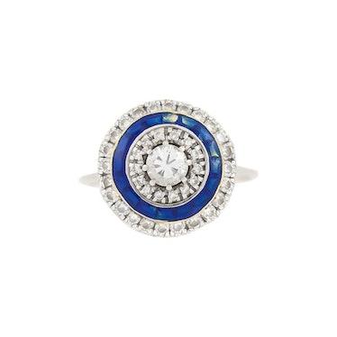 Orbicular Diamonds with Blue Enamel on 18 Karat White Gold Ring (1960s)