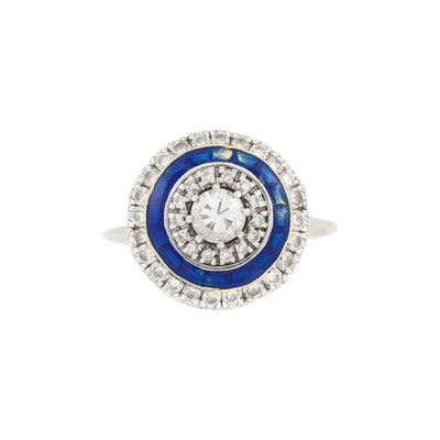 Orbicular Diamonds with Blue Enamel on 18 Karat White Gold Ring (1960s)