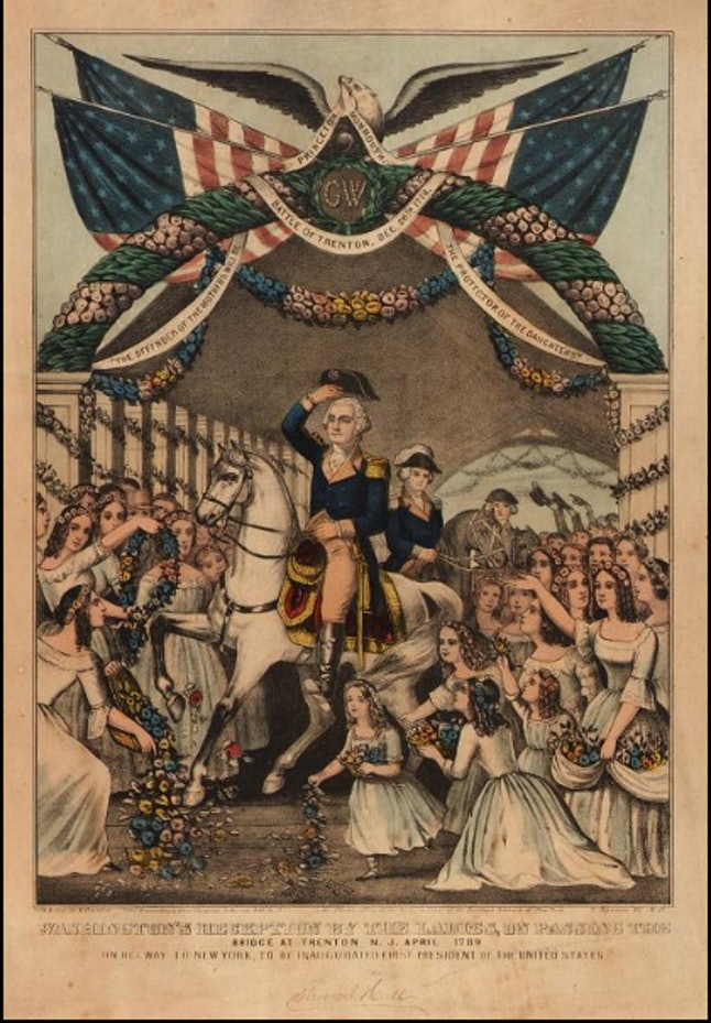 A lithograph of Washington's reception by ladies, on passing the bridge at Trenton, N.J., April 1789, on his way to New York to be inaugurated first president of the United States.